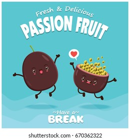 Vintage fruit poster design with vector passion fruit character.