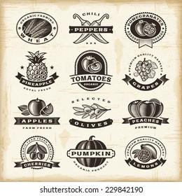 Vintage fruits and vegetables labels set. Fully editable EPS10 vector.