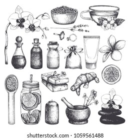Vintage fset of  hand drawn SPA and Beauty illustrations. Cosmetics and aromatic ingredients collection. Vector healthy life elements.