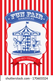 vintage fun fair and carnival poster template vector/illustration