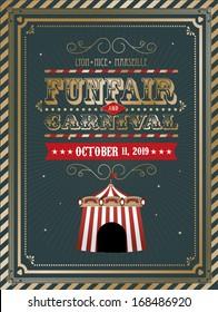 vintage fun fair/carnival template vector/illustration