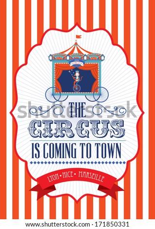 Vintage Fun Fair Carnival Circus Poster Template Vector Illustration