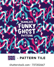 Vintage Funky and Colorful Ghost Seamless Pattern Surface Design with Isolated Pattern Tile. Vector Illustration.