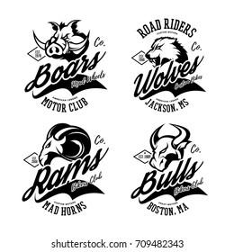 Vintage furious boar, ram, wolf and bull bikers gang club vector logo concept. Street superior wear mascot badge design. Premium quality wild animal emblem t-shirt tee print illustration.