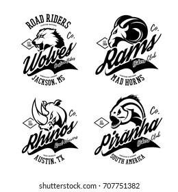 Vintage furious wolf, ram, rhino and piranha bikers gang club vector logo concept. Street superior wear mascot badge design. Premium quality wild animal emblem t-shirt tee print illustration.