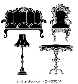 Vintage furniture set, armchair, sofa, table, floor lamp black silhouettes  isolated on a white background