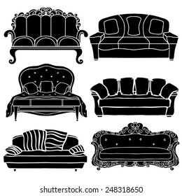 Vintage furniture set, sofa, bed black silhouettes isolated on a white background