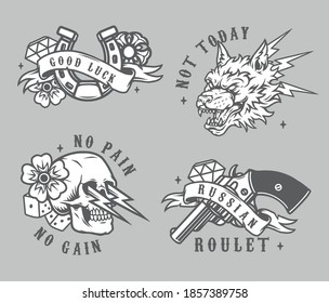 Vintage gambling prints in monochrome style with horseshoe handgun flowers dice diamonds aggressive wolf head and skull with lightnings isolated vector illustration
