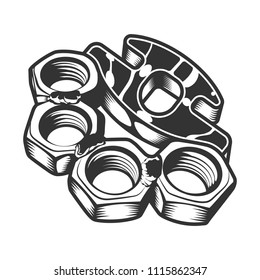 Vintage gangster metal brass knuckles template in monochrome style isolated vector illustration