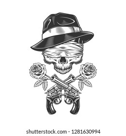Vintage gangster skull in fedora hat with blindfold and roses in gun barrels isolated vector illustration