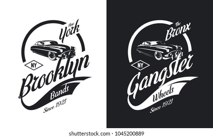 Vintage gangster vehicle black and white isolated vector logo set. Premium quality classic car logotype tee-shirt emblem illustration. Brooklyn, New York street wear hipster retro tee print design.