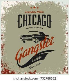 Vintage gangster vehicle vector logo isolated on light background. Premium quality classic car logotype tee-shirt emblem illustration. Chicago, Illinois street wear superior retro tee print design.