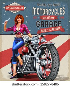 Born to Ride-Placa de Metal SIGN-Vintage Retro Salón Biker Gang Cafe Racer