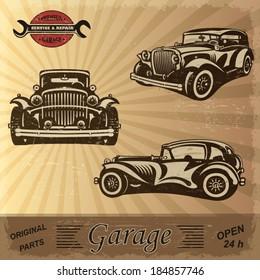 Vintage garage retro banner.