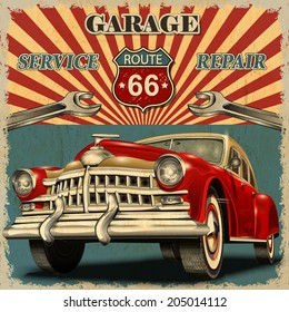 50s retro images stock photos vectors shutterstock for Garage happy car