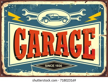 Vintage garage sign with car image and wrench tools. Car service and repair retro poster design template. Vector illustration.