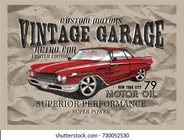 Vintage garage.Classic car