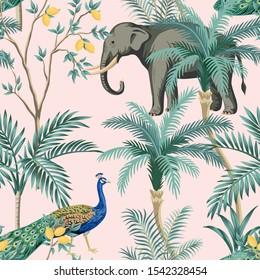 Vintage garden lemon fruit tree, plant, exotic peacock, elephant animal floral seamless pattern pink background. Exotic chinoiserie wallpaper.