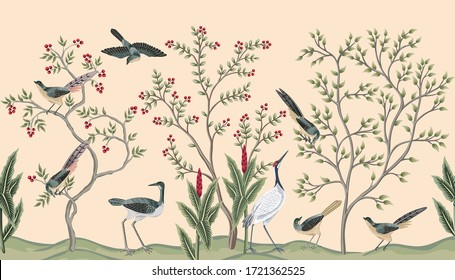 Vintage garden tree, plant birds, crane seamless border pink background. Exotic chinoiserie floral wallpaper.