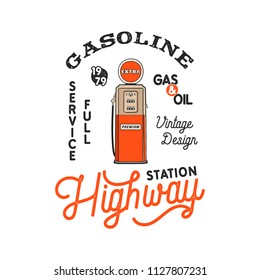 Vintage Gas Station Pump badge. Retro hand drawn gasoline logo design in distressed style. Unique gasoline pump illustration. Stock vector isolated on white background.