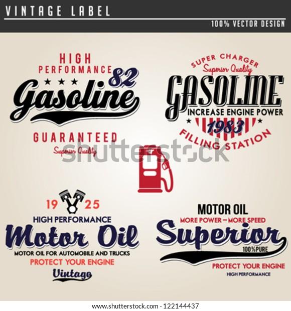 Vintage Gasoline Motor Oil Stock Vector (Royalty Free) 122144437