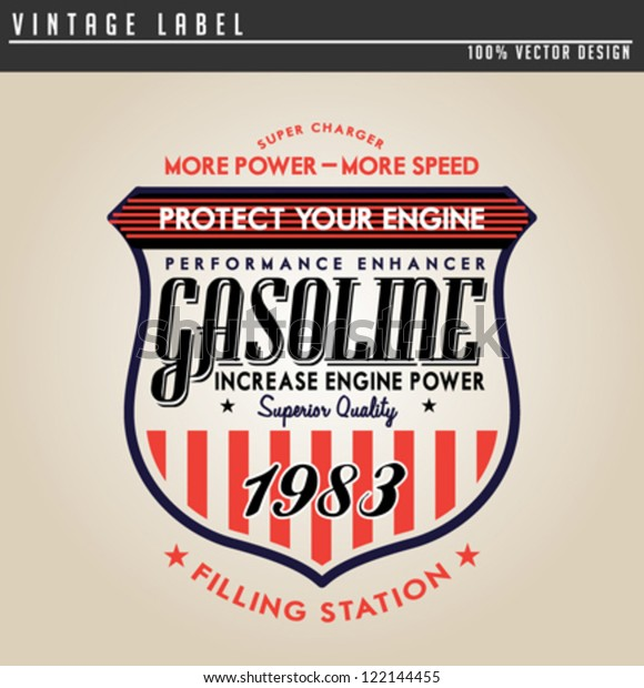 Vintage Gasoline Motor Oil Stock Vector (Royalty Free) 122144455