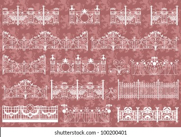 Vintage gate and street fence detailed illustration collection background vector