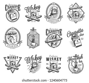 Vintage gentleman club labels set with crossed cuban cigars cigarette pack glass of whiskey hookah in monochrome style isolated vector illustration