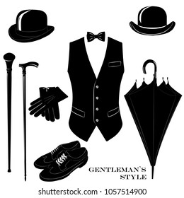 Vintage gentleman elegance vector set. Gentleman's accessory templates.