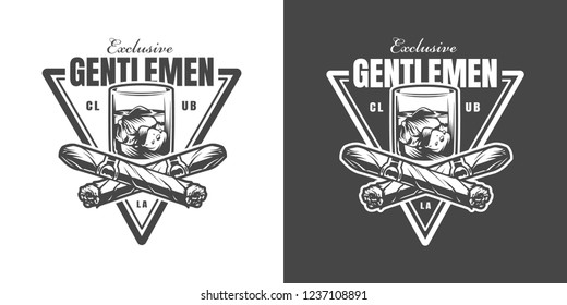 Vintage gentleman triangular monochrome logo with crossed cuban cigars glass of whiskey and ice cubes isolated vector illustration