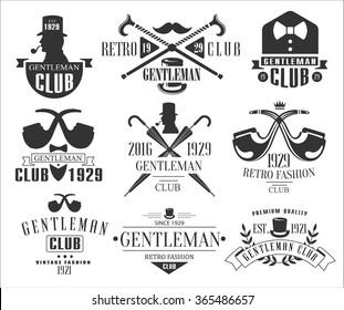 Vintage Gentlemen Club Emblems, Icons and Badges. Vector Illustration Set