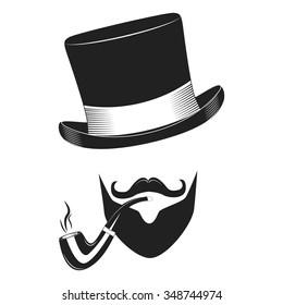 Vintage gentlemen club logo, gentlemen label, design elements for your projects, cards, invitation. Gentleman classic illustration