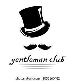 Vintage gentlemen elegance logo. Man`s club logo template with place for your text. Vector design for cards, invitation, t-short, company `s logo.