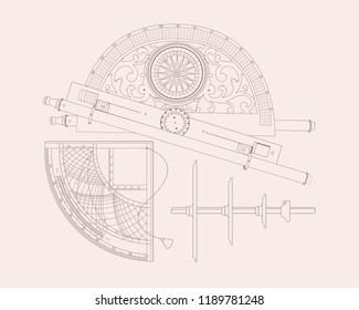 Vintage geodetic, marine and astronomical measuring instruments. Vector clip art.