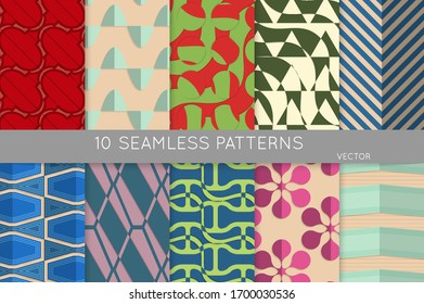 Vintage geometric pattern set with recycled paper fold and shadow. Seamless vector backgrounds. Abstract wallpaper in retro colors. Wrapping paper design. Art Deco style sepia toned.