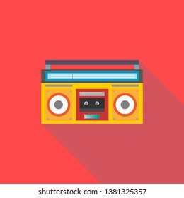 Vintage ghetto blaster boombox radio. Flat design with long shadow design