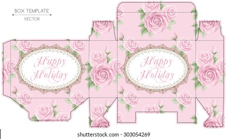 Vintage gift box design with roses. Shabby chic illustration. Die-stamping. Vector template