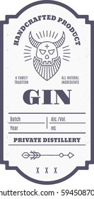 Vintage gin label with ethnic elements in thin line style. Alcohol industry emblem, distilling. Monochrome, black on white. Place for text