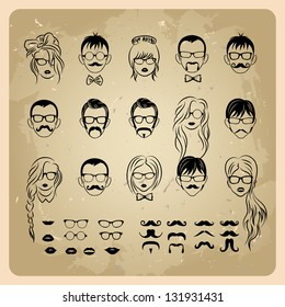 vintage girls faces with hair, sunglasses and shape of the lips.mans Faces with Mustaches, sunglasses,eyeglass es and a bow tie
