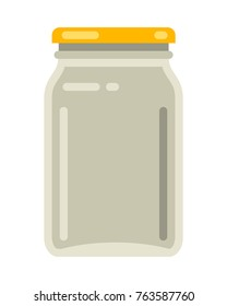 Vintage glass mason jar in modern flat vector illustration
