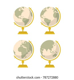 Vintage globe icons set. Vector cartoon flat style illustration isolated on white.