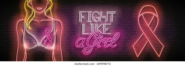 Vintage Glow Banner with Woman Figure in Lingerie, Pink Ribbon and Inscription. Breast Cancer Awareness Month, Fight Like a Girl. Neon Poster, Flyer, Invitation. Vector 3d Illustration. Clipping Mask