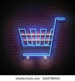 Vintage Glow Signboard with Empty Trolley. Grocery, Supermarket, Shopping Concept. Shiny Neon Light Poster, Flyer, Banner, Business Card. Seamless Brick Wall. Vector 3d Illustration. Clipping Mask