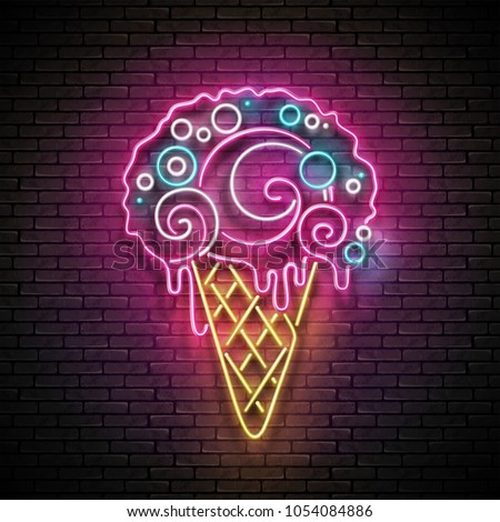 c0f2d48349c Vintage Glow Signboard with Ice Cream Cone and Ball. Cafe Flyer Template.  Shiny Neon