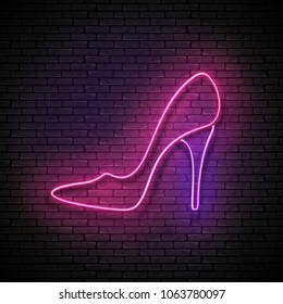 Vintage Glow Signboard with Pink High Heel Shoe, Shopping Concept. Boutique, Stripper, Black Friday Template. Shiny Neon Poster, Flyer, Banner, Invitation Card. Vector 3d Illustration. Clipping Mask