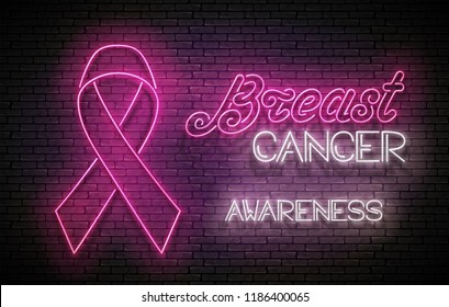 Vintage Glow Signboard with Pink Ribbon. Breast Cancer Awareness Month. Template for Flyer, Banner, Invitation. Brick Wall, Vertical Seamless. Vector 3d Illustration. Clipping Mask, Editable