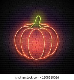 Vintage Glow Signboard with Pumpkin. Shiny Neon Light Fall Plant. Design Element for Thanksgiving and Halloween Holidays. Seamless Brick Wall. Vector 3d Illustration. Clipping Mask, Editable