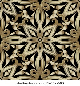 Vintage gold 3d Paisley vector seamless pattern. Ornate elegance ornamental background. Ethnic style hand drawn paisley flowers. Line art tracery decorative ornaments. Luxury design for fabric, prints
