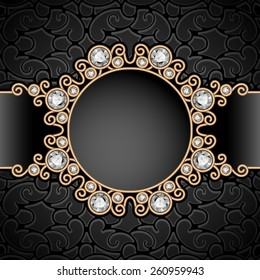 Vintage gold background, diamond vignette, vector jewelry frame, eps10