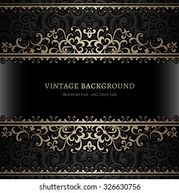 Vintage gold background, divider, header, ornamental vector frame